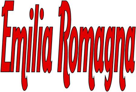 bilboard: Emilia Romagna text sign illustration writen in Italian on white background Illustration