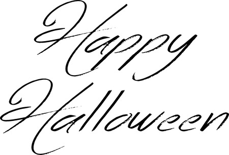 ghouls: Illustration of Text message Happy Halloween on white background.