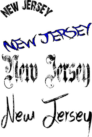 jersey city: New Jersey text sign on white Background Illustration