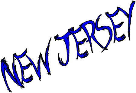 New Jersey text sign on white Background Illustration
