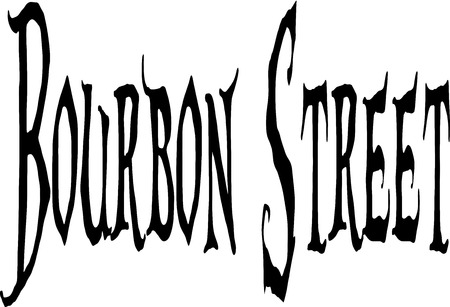 bourbon: Bourbon Street sign on White Background