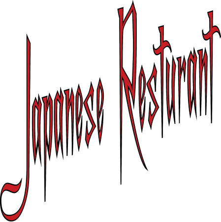 Japanese Resturant text Sign writen on white Background