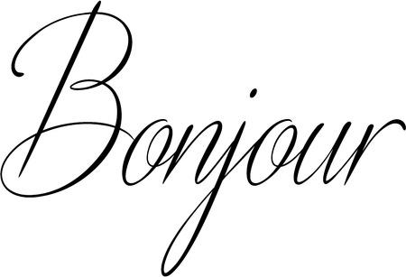 whithe: Bonjour text sign illustration on a white background