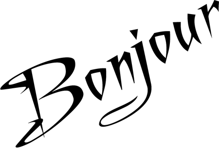 whithe: Simple Bonjour text sign illustration on a white background