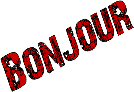whithe: Red Bonjour text sign illustration on a white background