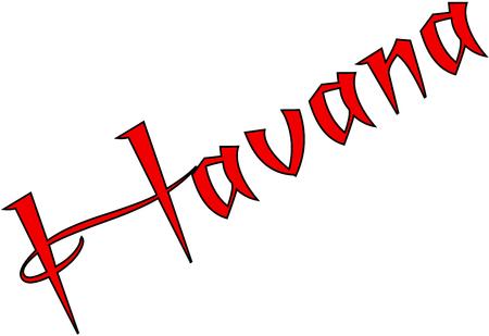 isles: Havana text sign illustration on white bachground