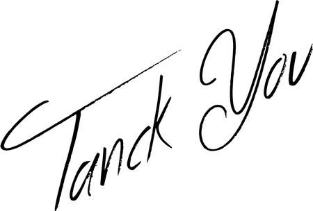 Tanck you text sign illustration on White background,