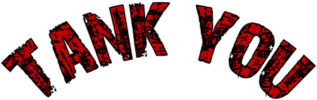 Tank you text sign illustration on White background.