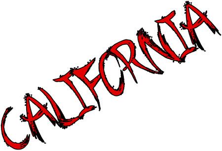 California text sign illustration.