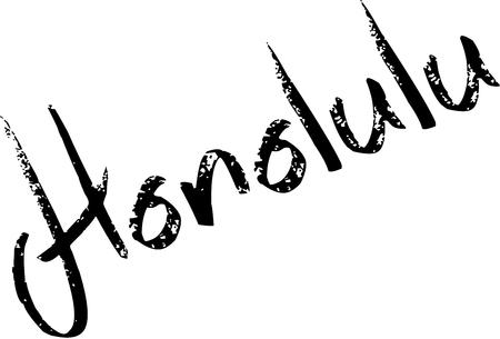 Honolulu tekst teken illustratie op witte achtergrond Stock Illustratie