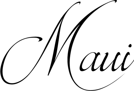 atoll: Maui text sign illustration on white background