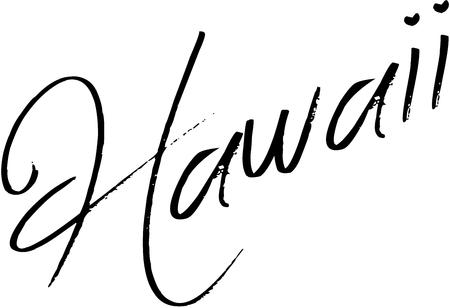 Hawaii tekst teken illustratie op witte achtergrond