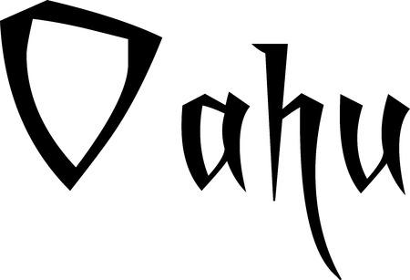 Oahu tekst teken illustratie op een witte achtergrond
