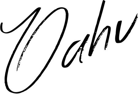 白い背景のオアフ島テキスト記号図
