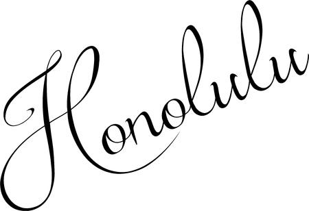 Honolulu text sign illustration on white background