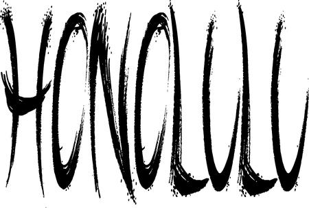 白い背景の上のホノルル本文符号図  イラスト・ベクター素材