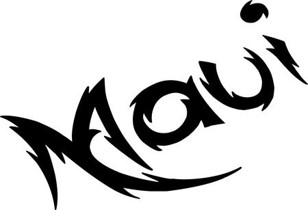 白い背景の上のマウイ テキスト記号図  イラスト・ベクター素材