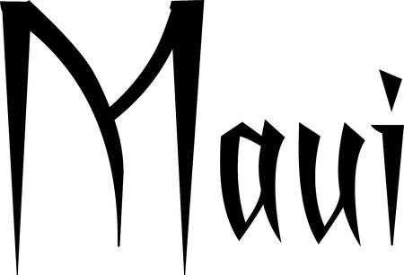 Maui-de illustratie van het tekstteken op witte achtergrond