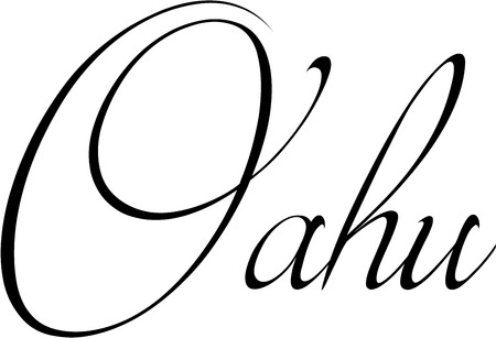 atoll: Oahu text sign illustration on white background