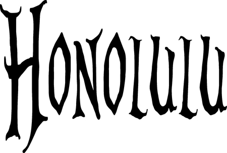 Honolulu text sign illustration on white background