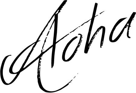Aloha text sign illustration on white background