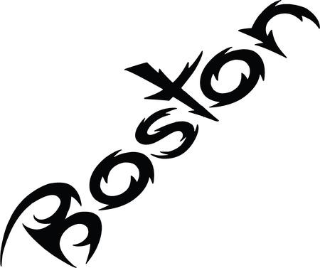 Boston text black calligraphy sign illustration on white background Illustration