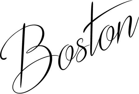 ボストン テキストは白い背景の上の図で黒い書道署名します。