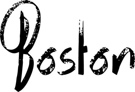 白い背景の上の図で黒い汚い書道ボストン本文に署名します。