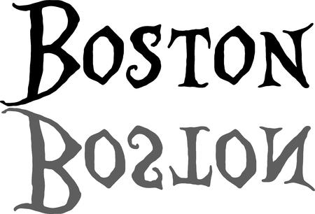 흰색 배경에 그림자 그림으로 검은 서예에서 보스턴 텍스트 로그인