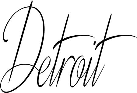 Detroit text sign illustration on white illustration