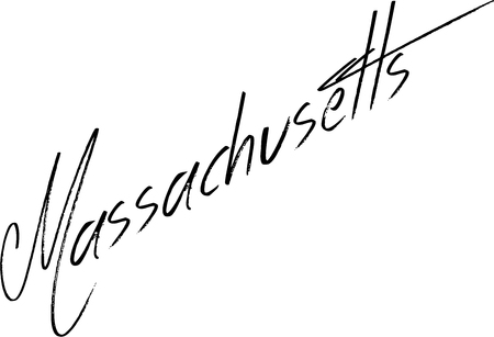 Massachusetts text sign illustration on white background.