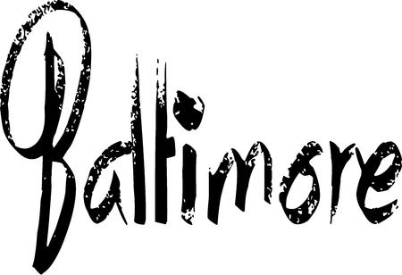 Baltimore text sign illustration on white background