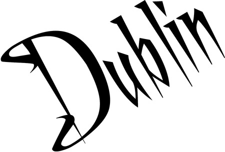 Dublin text sign illustrationon white Background Illustration