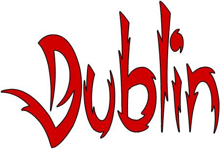 Dublin text sign illustrationon white Background Illustration