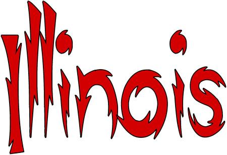 Illinois text sign illustration on White background Illustration