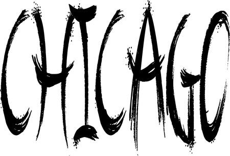 chicago text sign illustration on White background