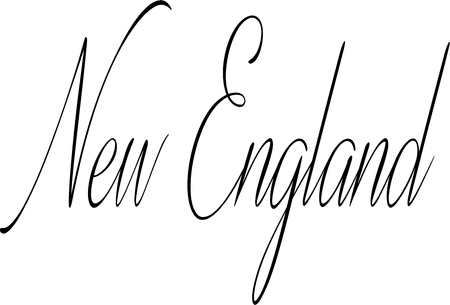 흰색 배경에 뉴 잉글랜드 텍스트 기호 그림 일러스트