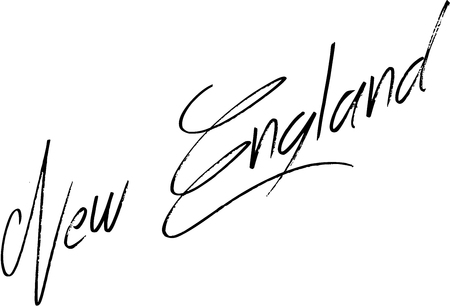 bilboard: New England text sign illustration on white background