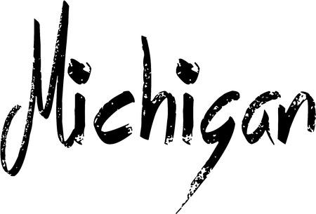 bilboard: Michigan text sign illustration on White background Illustration