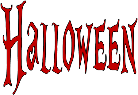 31st: Illustration of Text message Halloween on white background.