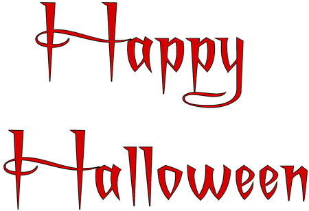 Illustration of Text message Happy Halloween on white background.
