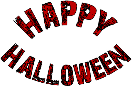 31st: Illustration of Text message Happy Halloween on white background.