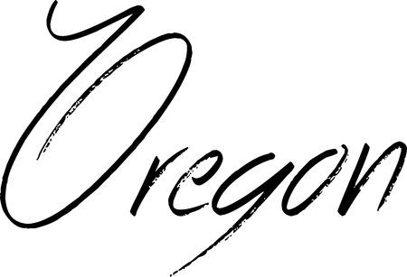 Oregon text sign illustration on whithe Background