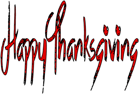 Happy Thanksgiving text sign illustration on white illustration.