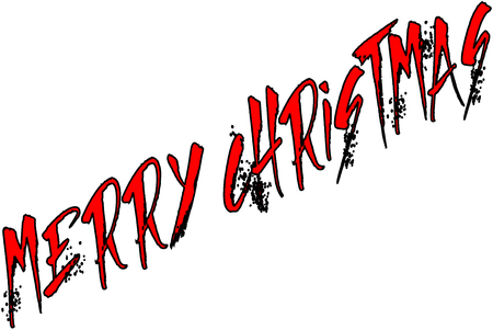 Merry Christmas text sign illustration writen in English on a white Background Illustration