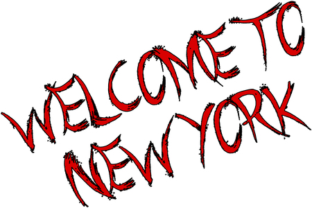 Welcome to New York text sign on white Background Illustration