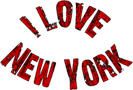 I Love New York text sign isolated on white Background.