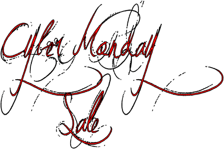 Cyber Monday sale shopping message on white Background Illustration