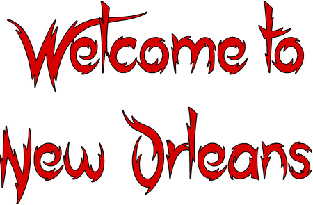 Welcome to New Orleans text illustration on white background