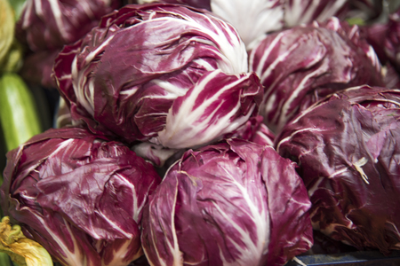 Fresh Radicchio Lettuce on Farmers Market in Italy